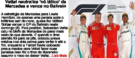 Vettel neutraliza no tático da Mercedes e vence no Bahrein