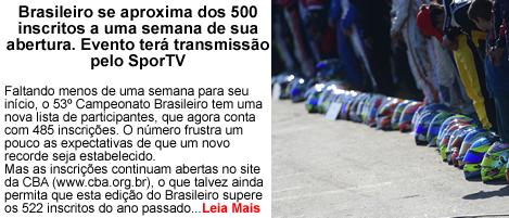 Brasileiro se aproxima dos 500 inscritos