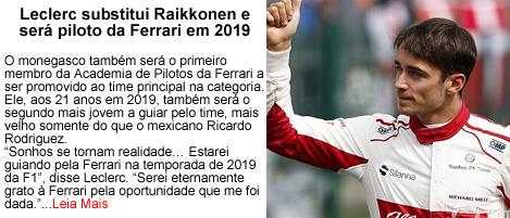 Leclerc substitui Raikkonen