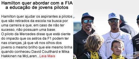 Hamilton quer abordar educacao de jovens pilotos.fw
